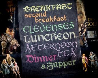 Elevenses Cross Stitch - Precious little Hobbit Meal Plan - Cross Stitch Sampler - PDF Digital Pattern - Kitchen