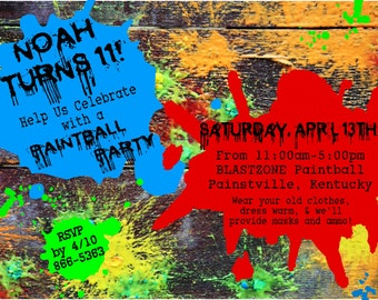 PAINTBALL Birthday Party Invitation- blue, red and green