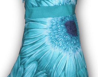 "One Shoulder Teal Purple Daisy 18"" Doll Clothes Knee Length Dress w/ Invisible side zipper"
