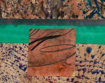 """Structure - Original Collage with Weathered and Hand Drawn and Painted Papers 4 x 4 on 5 x 5"""" Backing"""