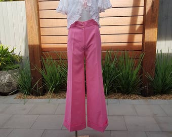Vintage 70's Barbie Pink Flares with High Waist by Patrick Gee XS size