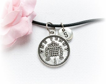 Lucky Penny Necklace, Lucky Penny Jewellery, Lucky Penny,Charm Jewelry, Personalised jewelry, , handmade necklace,SPLCINLP1,