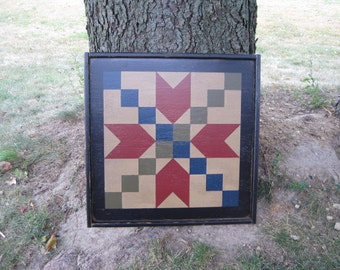PriMiTiVe Hand-Painted Barn Quilt, Small Frame 2' x 2' - Stepping Stone Pattern