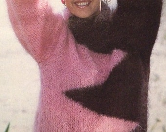 Ladies Zig - Zag Cosy Mohair Jumper ( size  10 - 18 ) Knitting  Pattern
