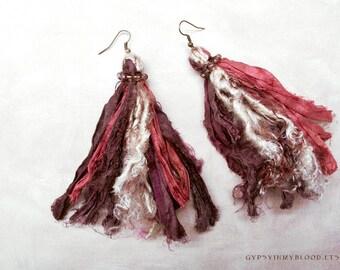 While Shepherds Watched Their Flocks By Night Sari Silk Earrings Boho Gypsy Jewelry