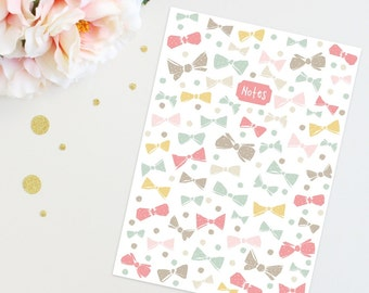 A5 Bows And Dots Notebook, Journal, wedding notes, bridesmade gifts