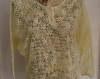 Vintage Yellow Lace Blouse