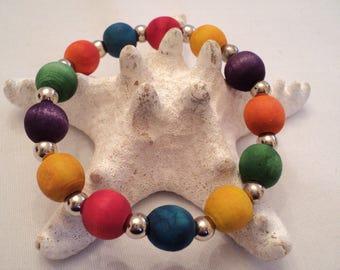 Wood Bead Bracelet, Multi Colored Bracelet, Rainbow Wood Bracelet, Rainbow Stretch Bracelet, Boho Bracelet, Boho Jewelry, Womens Gift Ideas