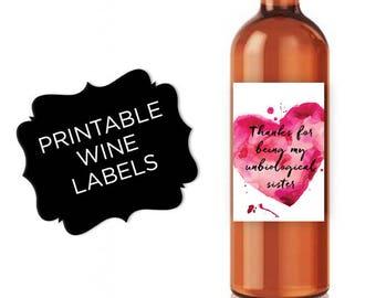Unbiological sister Thank you Best Friend Gift Thank you gift Wine Labels Thank you card Wine gifts for women wine lover gift wine bottle