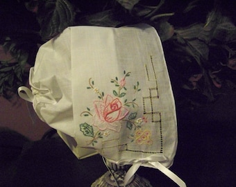 Baby hankie Handkerchief Magic Bonnet turns handkerchief for wedding Exquisite rose embroidery and cutwork