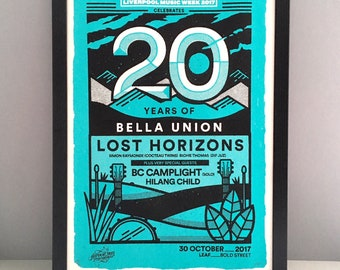 Bella Union poster - Official gig poster - Lost Horizons poster - Limited edition - Liverpool Music Week - 20th anniversary art - poster art
