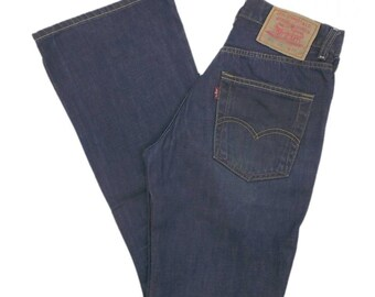 Levis 525 Jeans W27 L30 Dark Blue Womens Bootcut Factory Fade Denim Zip Fly