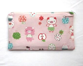 Sweet Piggies Fabric Zipper Pouch / Pencil Case / Make Up Bag / Gadget Sack