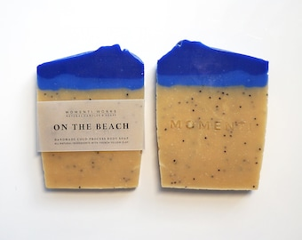 On The Beach! Handmade Soap, Body soap, French yellow clay soap, Cold process soap.