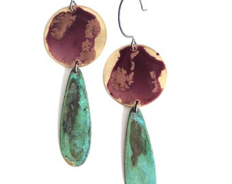 Rosewood & Verdigris Drop Earrings #E1809