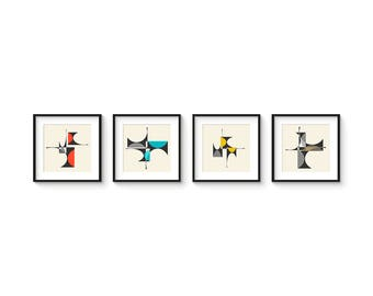 CUBIST Series - Collection of (4) Giclee Prints - Mid Century Modern