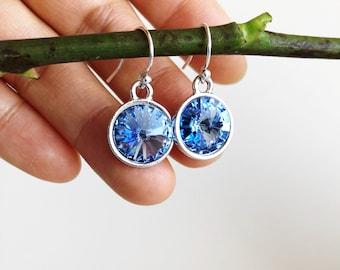 Sapphire Blue Crystal Earrings, Sterling Silver Ear Hooks, Swarovski Blue Rivoli Crystal Jewellery, Something Blue Earrings