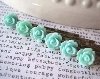 Aqua Rose Hairpins, 6 Flower Bobby Pins, Small Roses, Bridal Hair Accessory, Flower Girl, Small Gift, Stocking Stuffer, Gifts for Women
