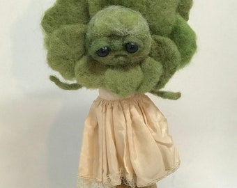 Lucy the head of lettuce Original one of a kind art doll