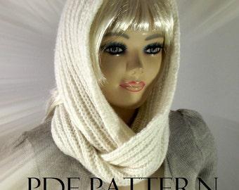 KNITTING PATTERN HOOD Scarf brioche - I love Snow - Hooded Infinity Scarf pdf pattern Instant Download learn brioche stitch easy knitting