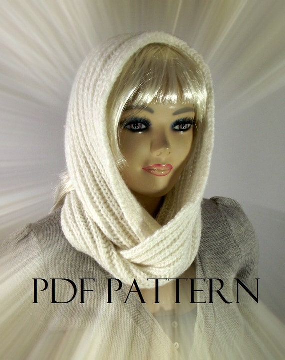 KNITTING PATTERN HOOD Scarf brioche - I love Snow - Hooded Infinity ...