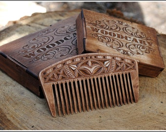 Wood comb custom wooden comb wooden hairbrush wood hair brush wooden beard comb carved comb Christmas gift for her gift for him mum gift