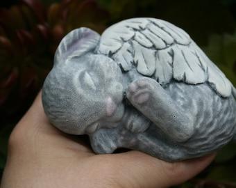 Angel Bunny Statue - Rabbit Angel Memorial - Concrete Garden Statues