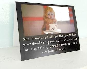"Art Notecard Adventures of Claudia Antique Porcelain Doll ""Treasured"" Typographic Card"