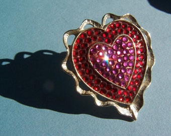 Vintage Heart Brooch with Red & Pink Stones