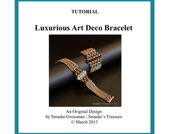 Beading Tutorial, Luxurious Art Deco Bracelet. Beading Pattern with Crystal Drops, Seed Beads, Fire Polished. Jewelry Beadweaving Beadwork