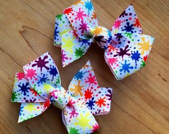 Paint party hair Bow - paint party, paint birthday party, art party, art hair bow, art birthday party, paint party favor, paint loot bags