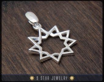 BPS3 - 925 Sterling Silver 9 Star Baha'i Pendant