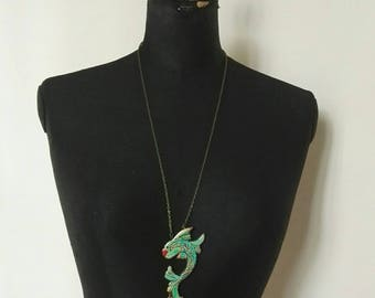 Animal mod. Green Fish Line Necklace
