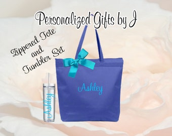 Bridesmaid Gifts Tote and Tumbler, Bridesmaids Gift, Zippered Wedding Tote and Tumbler Set, Personalized Tote and Tumbler, Bachelorette