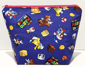 SUPER MARIO, 2 Skein Size, Red Zip, White Lined Project Bag for Knitting Crochet & Craft Storage