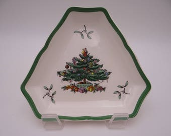 Vintage Spode Christmas Tree Made in England Triangular Tray
