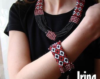 WOW! Black and red Jewelry Set. Folk necklace and bracelet. Ukrainian Beads Nekclace. Gerdan. Ethnic ukrainian style. Vyshyvanka