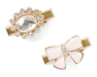 Light Pink Bow and a Oval Rhinestone Hair Clip Set