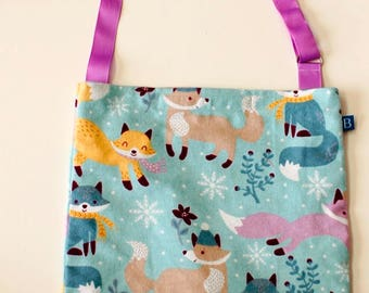 Washable, Eco-Friendly Car Trash Bag in Winter Foxes Fabric