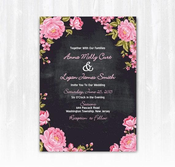 Diy Chalkboard Wedding Invitations: Chalkboard Peony Wedding Invitation DIY PRINTABLE Digital File