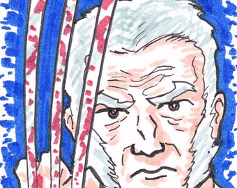"Wolverine Old Man Logan X-Men 2 1/2"" x 3 1/2"" artist trading card ACEO"