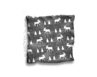 Lovey Moose Crossing. Moose Lovey. Security Blanket. Comfort Object. Woodland Lovey. Woodland Nursery. Mini Blanket. Moose Baby Room.