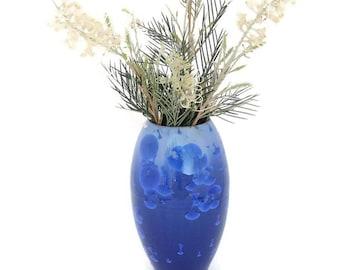 Blue Ceramic Crystal Glazed Vase , Pottery vase , Flower Holder , Blue Home Decor, Wheel Thrown