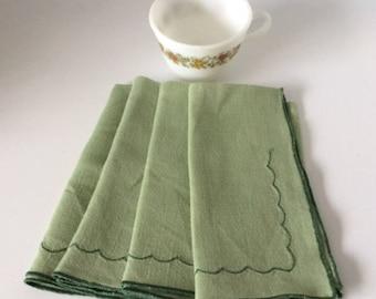 Green Cotton Embroidered Dinner Napkins   Vintage