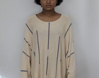 Baggy Beige Sweater - Batwing Oversized - Vintage