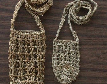 Crocheted Hemp Water Bottle Holder, Handmade Water Bottle Bag, Natural Crossbody Water Bottle Holder, Festival accessories, 1.5 L / 0.5 L