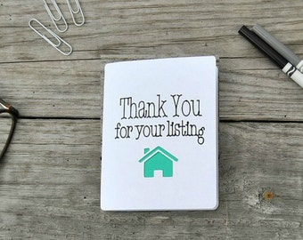 Thank You for Your Listing Real Estate Cards, Realtor Cards, Real Estate, Home Listing, Selling a House - Set of 5 cards - Vertical