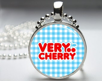 Sweet As A Cherry Round Pendant Necklace with Silver Ball or Snake Chain Necklace or Key Ring