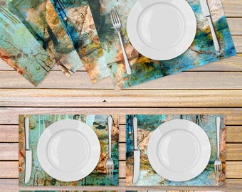 Set of 4 artistic tablemats printed on Vinyl textured fabric - Designed Table linen - kitchen decor