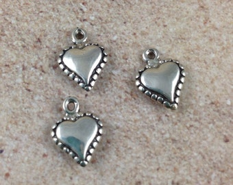 Sterling Silver Heart Charms, 3 charms, 13x10mm